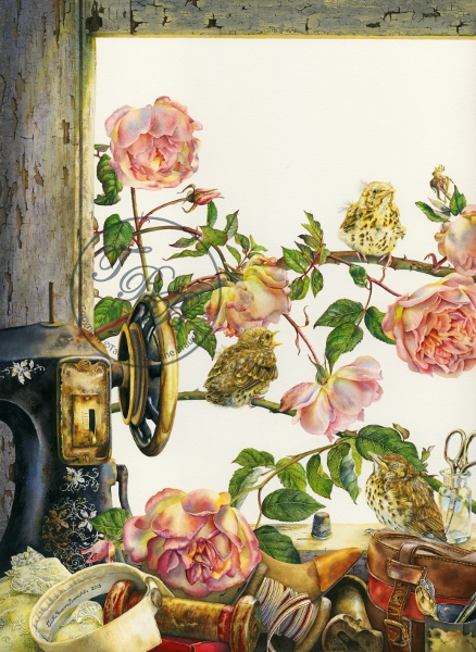 A view through an open window with three baby birds and pink roses