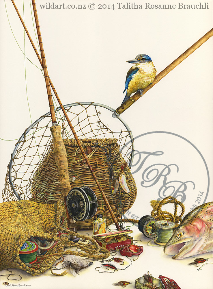 watercolor painting with kingfisher, fishing rods, trout, kete basket, creel, and other fly-fishing gear