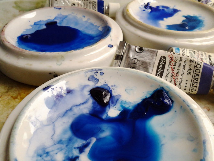 Blue Watercolor Paint on China Palettes