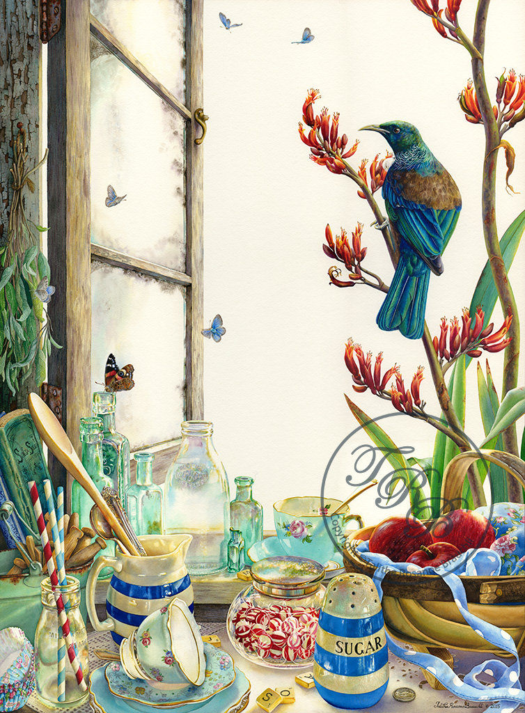 Painting of Tui bird and windowsill with china